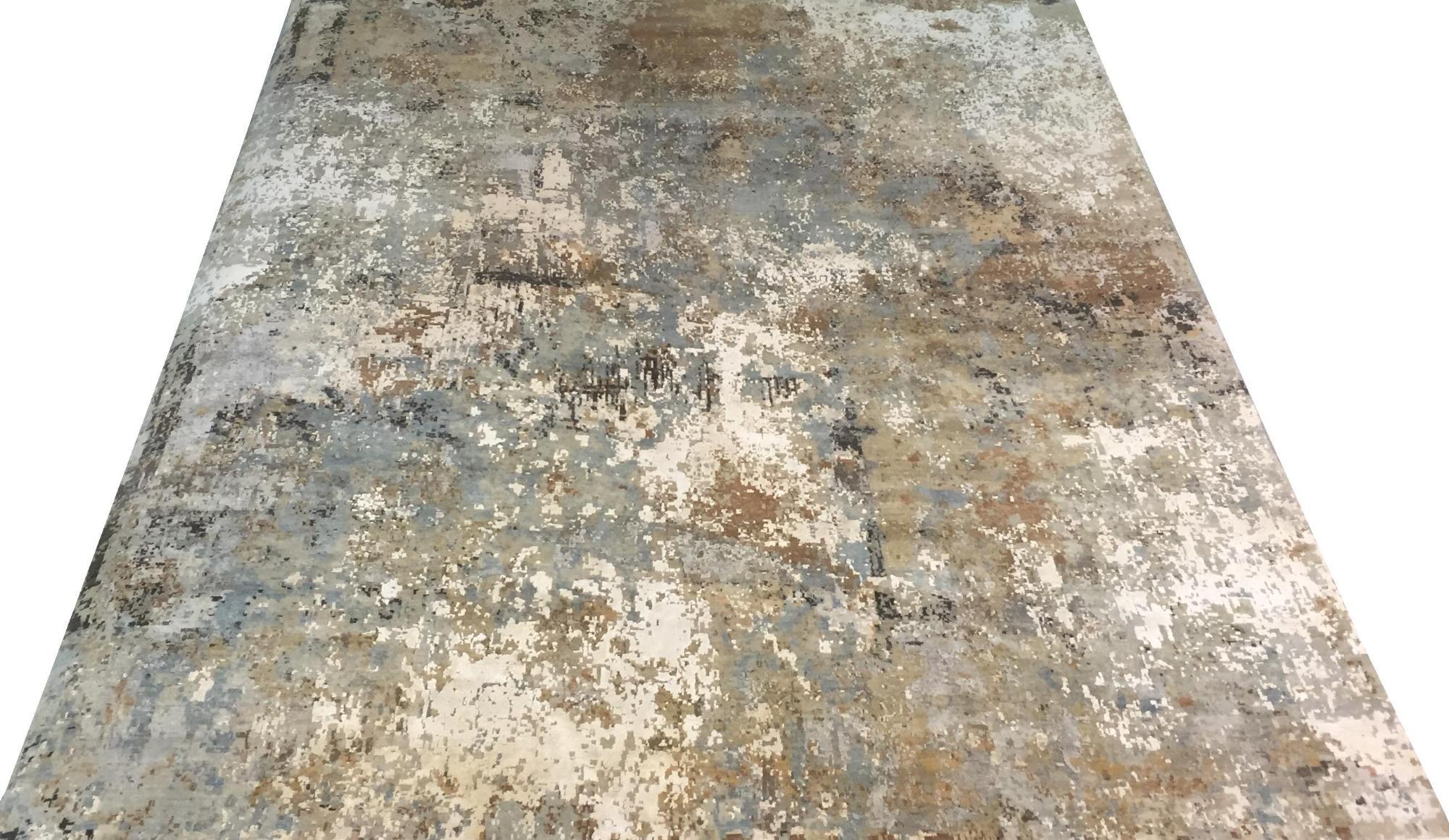 Индийский ковер из шерсти с шелком Абстракция ОГ5SW