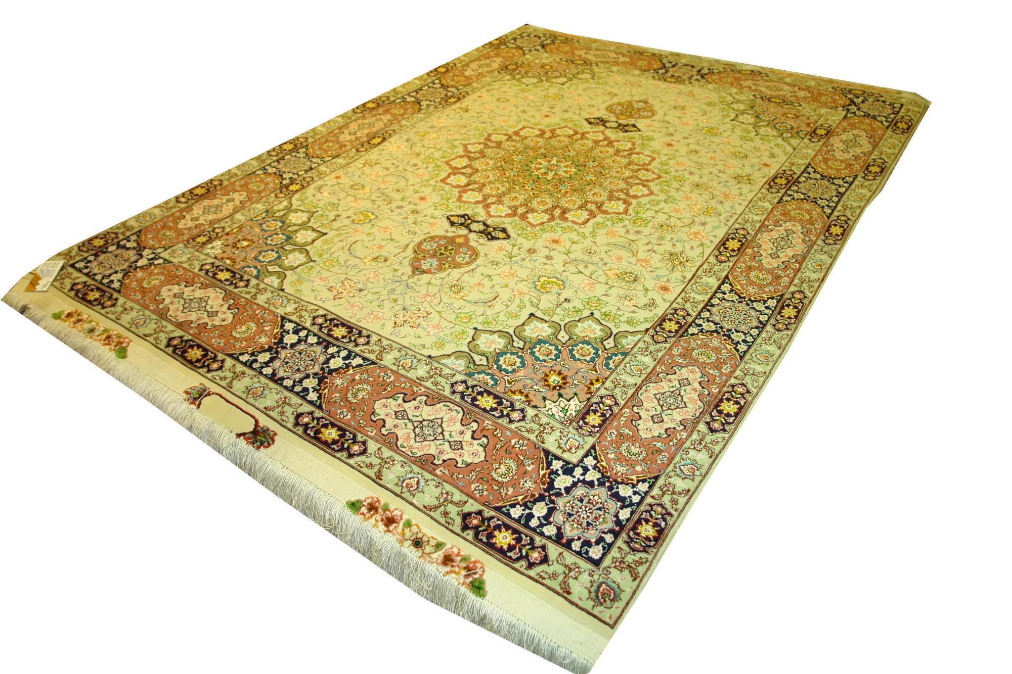 Иранский ковер из шерсти с шелком Медальон AL41SWS