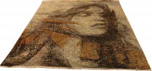 Индийский ковер из шерсти с артшелком Картина ОГ107АЮWAsC